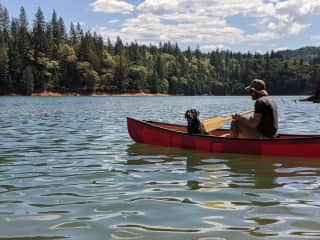 Ray Ray's first ride in a canoe!