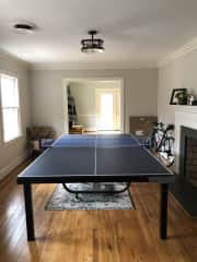 Ping pong table with plenty of balls and paddles!