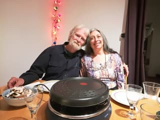 Sandi and Donn about to enjoy raclette in Toulouse 2018