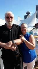 Les & Janet waiting to board Disney Alaska Cruise