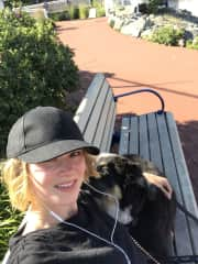 Morning walk with Coop
