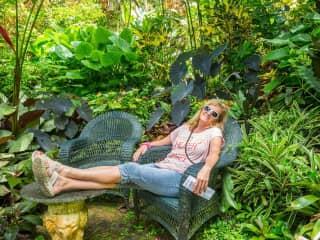 Relaxing in Barbados garden
