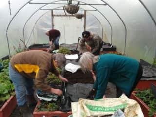 Inside my polytunnel with some gardening friends, that's me in the brown and yellow top.