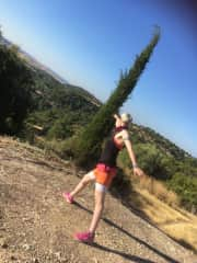 While we have been in Cyprus, Liz has been running the trails and doing strength training in the early mornings.