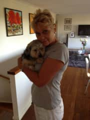 Jacquie and Wallace, at our home. Our daughters foster dog.