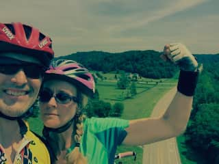 John and I cycling on the Natchez Trace Parkway.