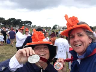 Janet & Judy after completing a 5k Turkey Trot on Thanksgiving - part of volunteering to raise funds for Rady Children's Hospital
