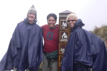 Just conquered Dead Woman Pass on the Inca Trail to Machu Picchu