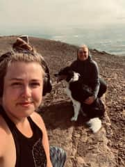 Me and my daughter hiking up a mountain in Iceland with my brothers dog