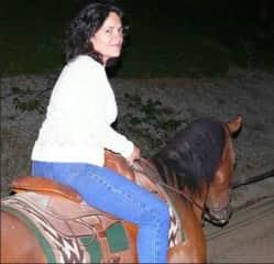 Alba riding in California