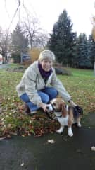 Sharon and Bagel the Beagle
