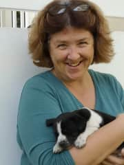 Me with a friend's puppy, Jan 2020