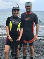 Amanda and Brendon snorkelling in Hawaii