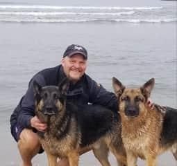 Duke, Loki and me at Ocean Beach on a field trip