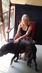 Carole and Beamer in Goa, India. A loving, elderly labrador