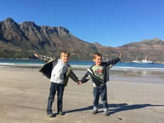 Liam and Aiden in South Africa, July 2017 during a house sit