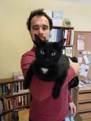 Zachariah with our cat Lev Landau