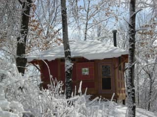 Our little retreat house at the back of our woods. Great view of sunrise.