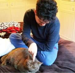 Tony and 'Frankie The Proximity Cat' who liked being patted on his head only, but still loved sitting next to people.