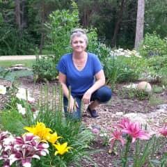 Leah in the flower garden