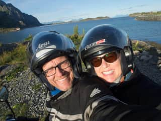Erik and I mc-biking on the coast of north Norway for our summer holiday a couple years ago
