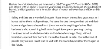 A review of us by another former and future house sitter.