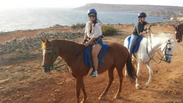 Horseback riding in Malta (I hadn't planned on riding that trip, so I didn't pack any pants!)
