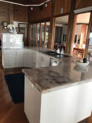 This is our kitchen which over looks the beautiful Burnett River