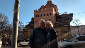AJ and Nancy in front of the Great Gate of Kiev