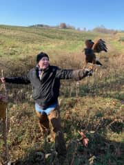 With my hunting partner Zoey, a Harris Hawk