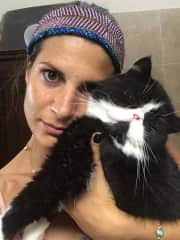 Alessandra and Pepe, the cat of a friend of ours