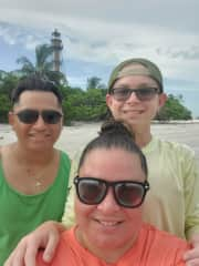 My husband, son, and me at our happy place - Sanibel Island!