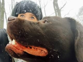 This is me with our dog.