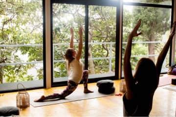 teaching yoga at retreat
