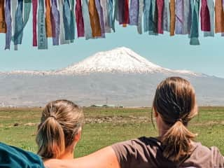 Blanche and Marielle in front of Ararat Mount