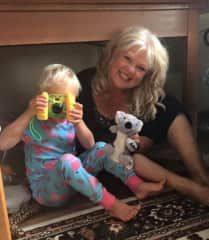 Enjoying playtime with little people, as well as pets