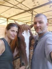 Alessandra, Bernarda and Marco at the riding center