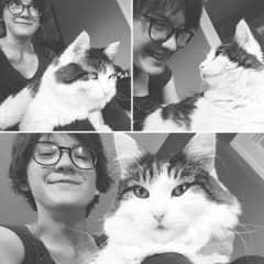 Silly selfies with my kitty Kona.