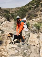 hiking with our housesitting dog in New Mexico