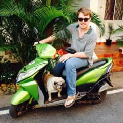 Messi (the Pug) and I cruising around Goa, India on my moped!