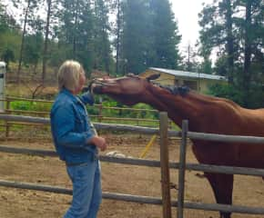 Chris and Pepper at the ranch in Summerland.