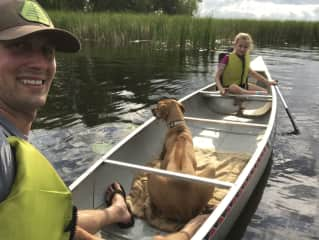 Canoing in Northern MN with our dog Julio