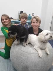 Poppy, Eli and Beau with 2 puppies we were pet sitting last year