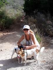 Walking Cassy and Danny in the mountains of Andalucia.