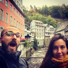 excited about the  small medevial town Monschau in the middle of Germany
