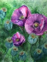 """Watercolor painting - """"Clementine's Garten"""""""