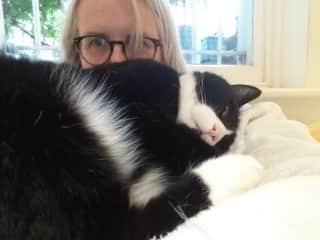 Indulging in evening cuddles with Boris