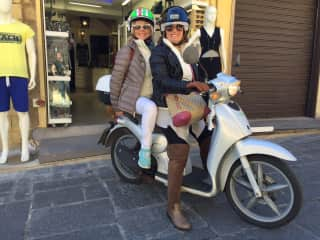 Scootering around the old town in Rhodes with my visiting friend Mandalay