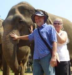 Neil & Laurie with a rescued elephant