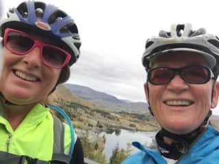 Me and friend Sharyn on an Ocean to Alps bike tour in New Zealand